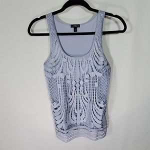 Express gray/silver lace front tank top Sz Xs